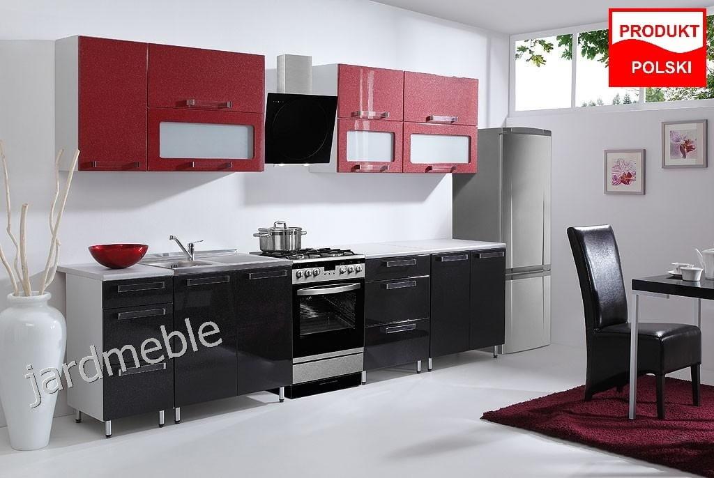 Najnowsze PROMOCJA ! Meble kuchenne kuchnia GALAXY czerwono-czarna połysk LF97