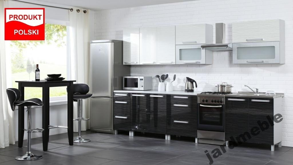 Promocja Meble Kuchenne Kuchnia Zestaw Merlin 2 6m Polysk Mdf Czarno Bialy
