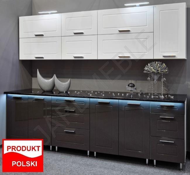 Meble Kuchenne Kuchnia Quatro Bialy Szary Polysk